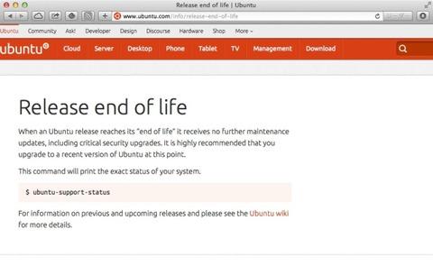 Ubuntu 13.04、サポート終了