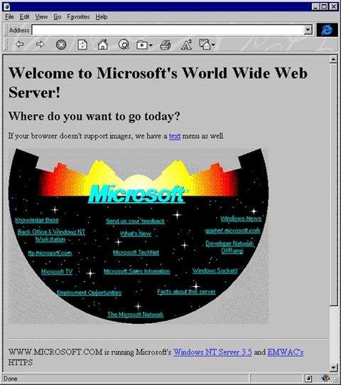 米Microsoft(マイクロソフト)、公式Webサイト立ち上げ20周年で当時のトップページを再現