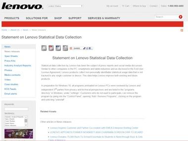Lenovo、ThinkPadのスパイウェア疑惑について声明~個人データは収集していない