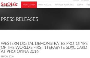 SDXCカードが1Tバイトに…WesternDigitalが試作品でデモ