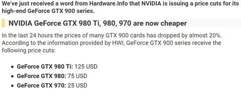 GTX980Ti、GTX980、GTX970値下げ 値引き額は$125、$75、$25