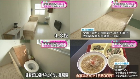 刑務所の部屋4.3畳食事1日500円