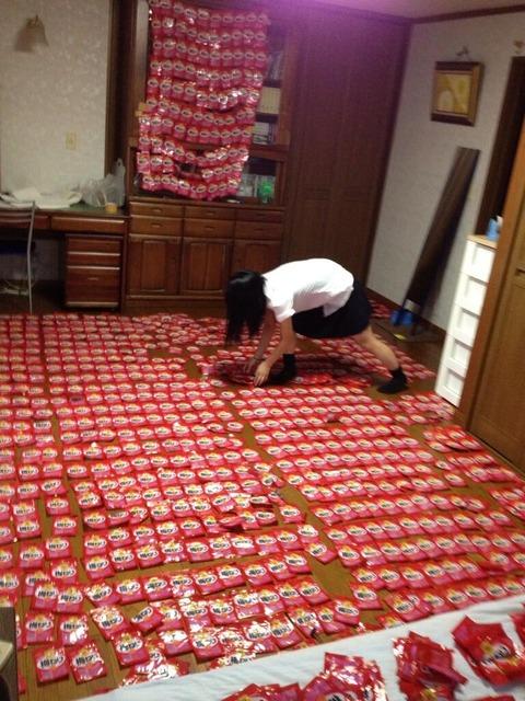 【画像あり】 女子高生の妹が7年間ためた梅ねりの袋を並べてる。ギネスを目指してるらしい。
