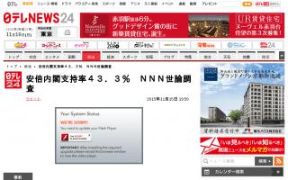 安倍内閣支持率43.3%(前月比+4.2)支持しない39.9%(前月比-3.1) NNN世論調査