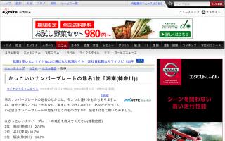 かっこいい車のナンバープレートの地名 1位「湘南(神奈川)」、2位「品川(東京) 」、3位「横浜(神奈川)」
