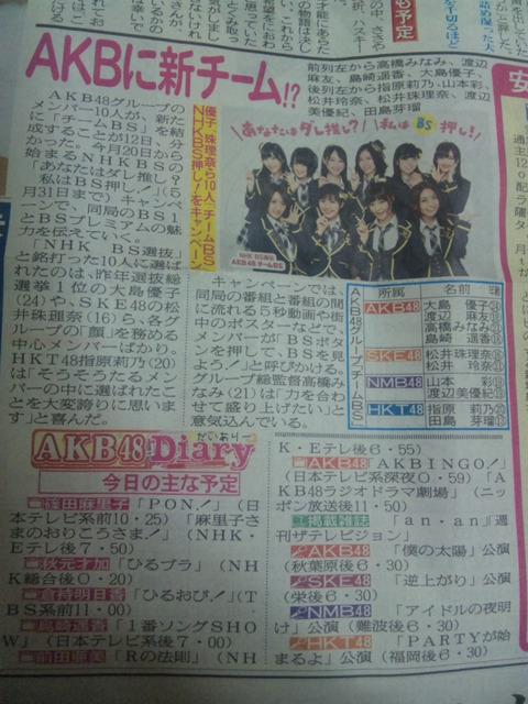 【朗報】AKBに最強選抜新ユニット「チームBS」結成! なお柏木由紀や篠田麻里子らは選抜されていない模様・・・・orz