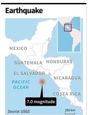 エルサルバドル沖でM7の地震を観測!津波注意報は解除された模様