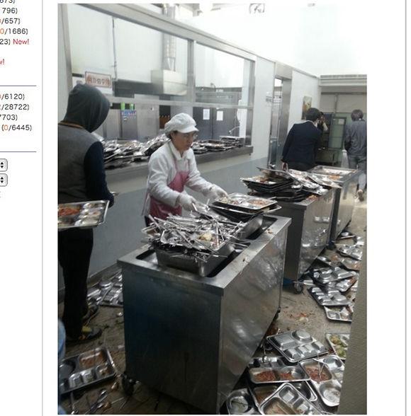 【韓国】学校給食後の光景がヤバすぎると話題