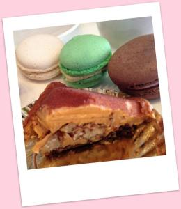 Salted caramel pyramid and a selection of mini macarons