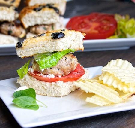 Spinach Feta Turkey Burger on Olive Focaccia