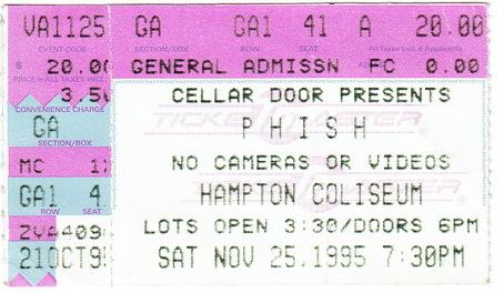 Ticket Stub from @Phish's first show at the Hampton Coliseum