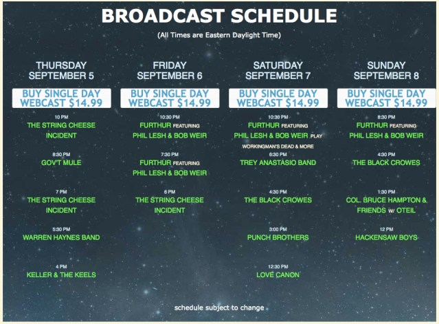Webcast Schedule from Nugs.TV