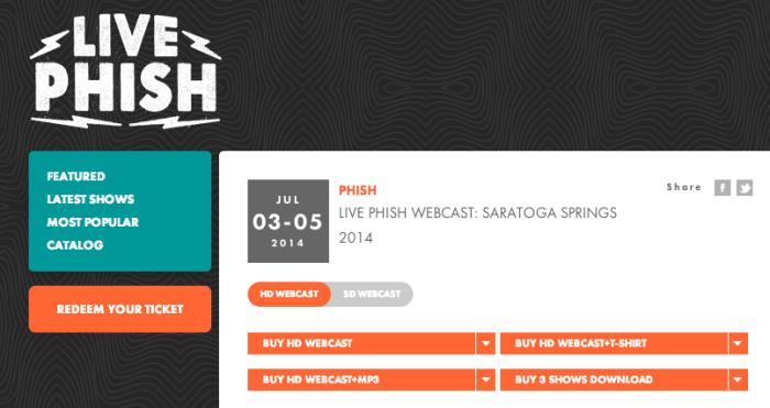 LivePhish.com   Live Phish Webcast  Saratoga Springs 07 03 05 2014