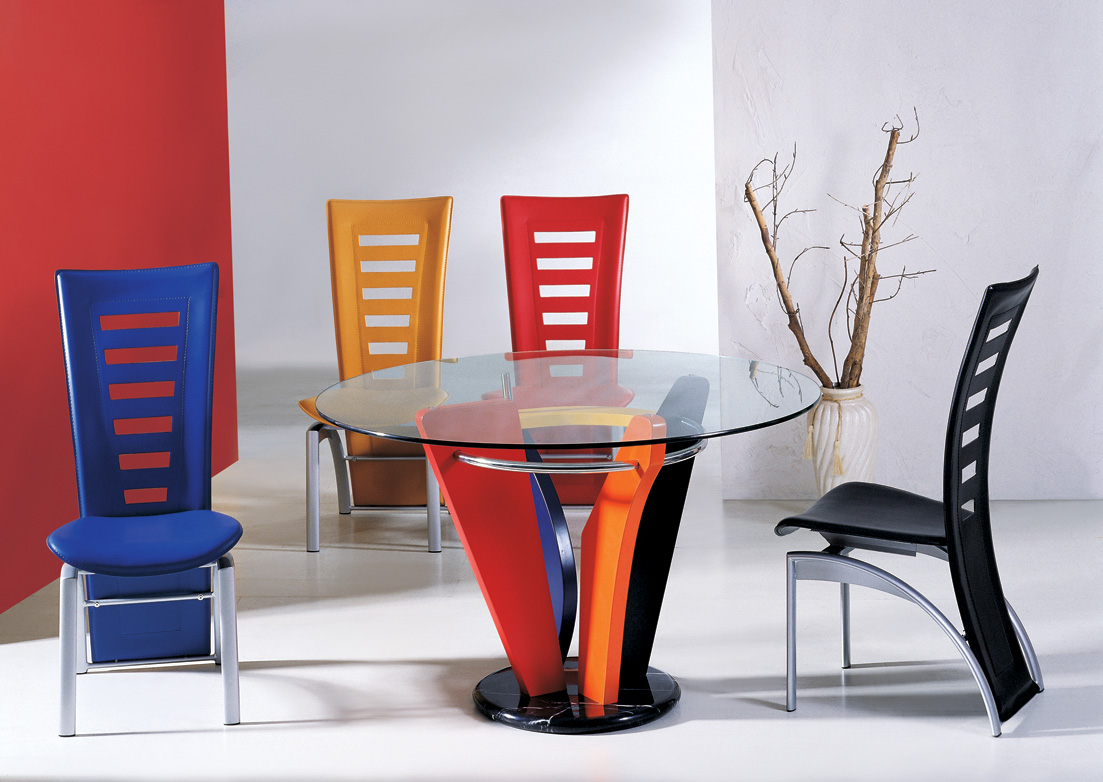stylish modern dining spaces contemporary kitchen chairs Colorful modern dining set