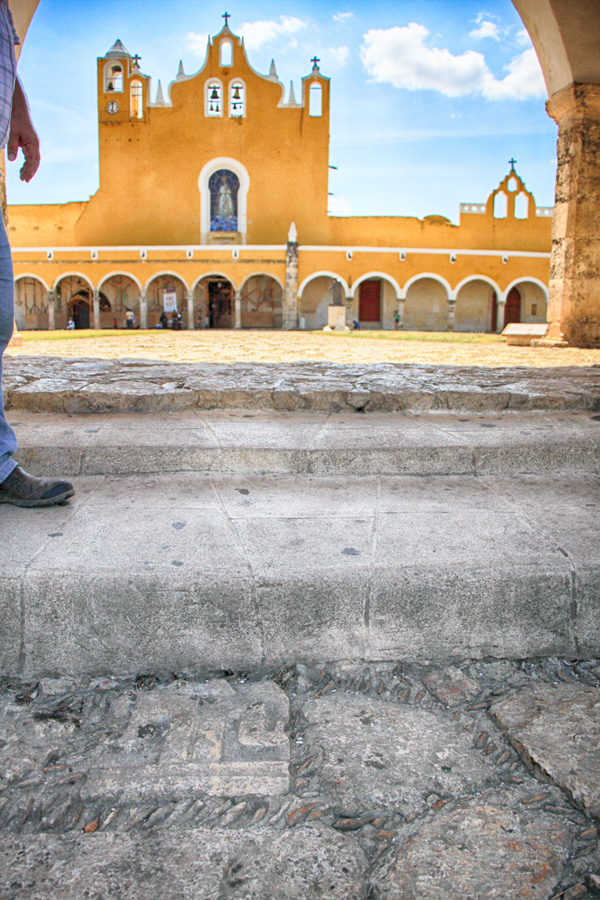 A stone representing a Mayan god sits on the path as you enter the monastery at Izamal. (Jacob Bielanski / Living Astray)