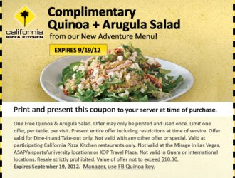 FREE Salad at California Pizza Kitchen!!! HURRY no purchase necessary :)