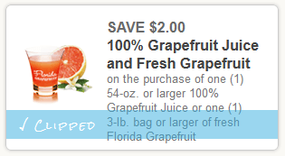 HOT $2 off Fresh Grapefruit or Grapefruit Juice coupon + only $0.60 at Target!!!
