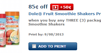 HOT new $1.35 off Dole Fruit Smoothie Shakers Printable Coupon!!!! LOVE LOVE LOVE these