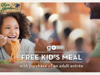 Kids eat FREE at the Olive Garden through 6/20!!!