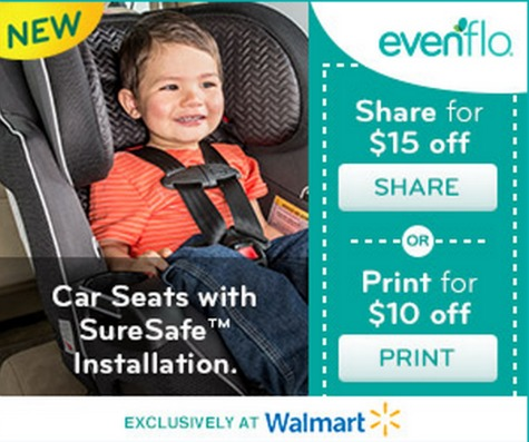 Looking For A Car Seat Here Is An Awesome New Printable Coupon 15 Off Of Your Purchase Evenflo SureSafe Carseat These Are Sold At Walmart And