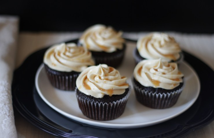 Dark Chocolate Espresso Cupcakes with Salted Caramel Buttercream