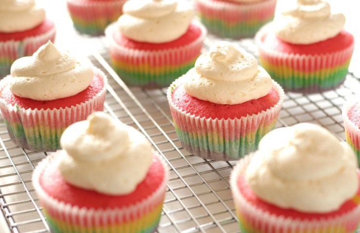 Rainbow Cupcakes with Fluffy Vanilla Frosting