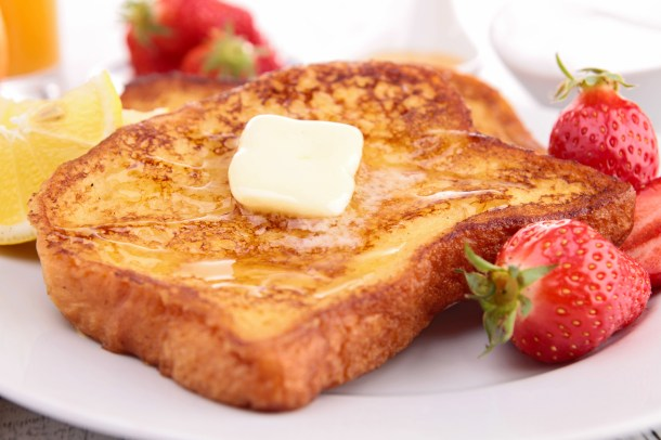 french toast with butter and honey