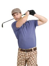 Plaid pants and a nine-iron are par for the course for this golf look. Photo by iStock.