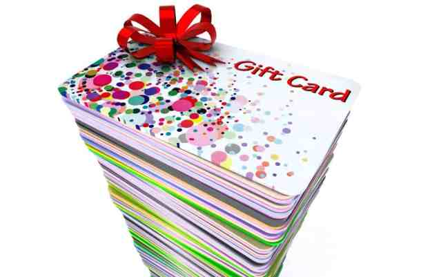 stack of colored gift cards