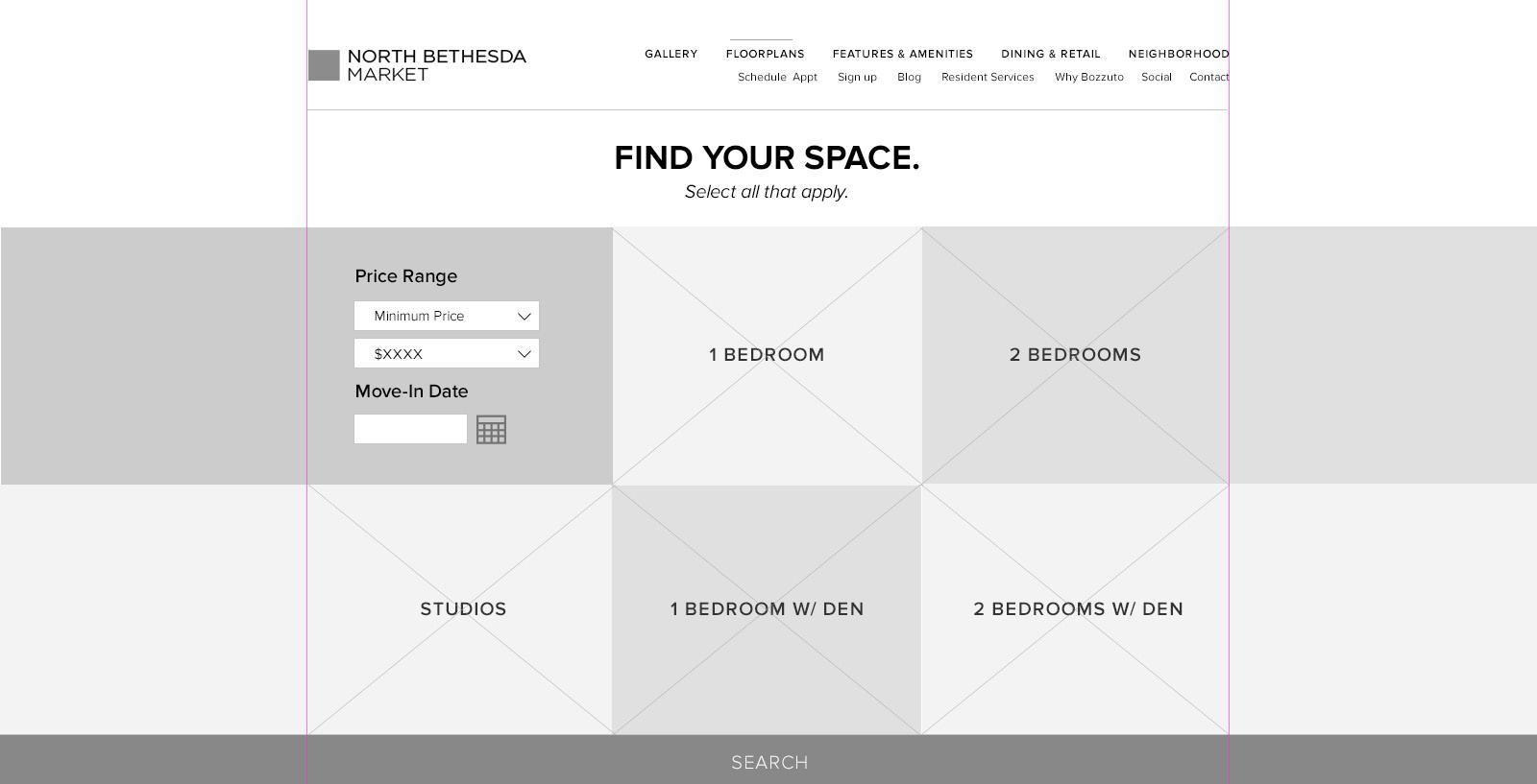 Floorplan Desktop Wireframe—before search