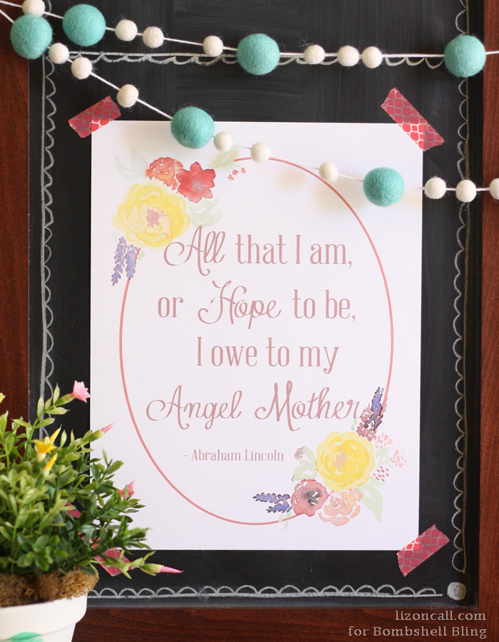 """Angel Mother"" Abraham Lincoln Quote Printable [Bombshell Bling]"