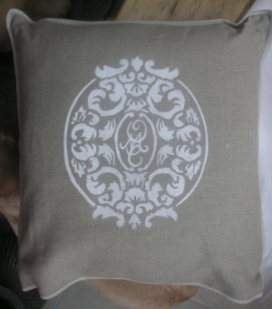 Maison Yvette Mary Olivia Cork handpainted pillow 47x47 LMDY.ch