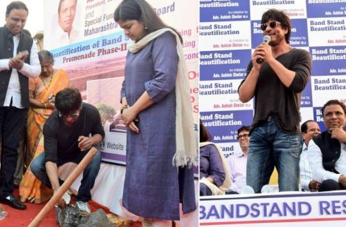 Shah Rukh Khan, Poonam Mahajan and Ashish Shelar at the Bandra Beautification event