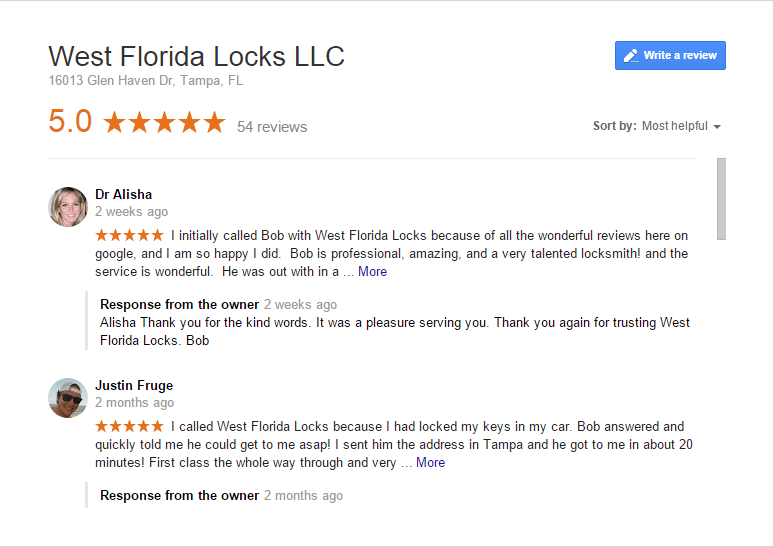 Locksmith Tampa Florida Google 5 Stat Google Reviews or Leave A Review