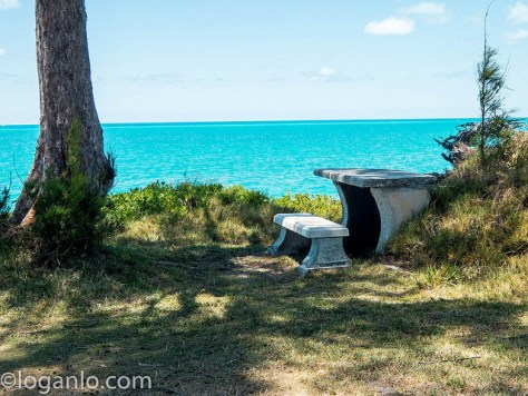 Stone table and bench in Bermuda