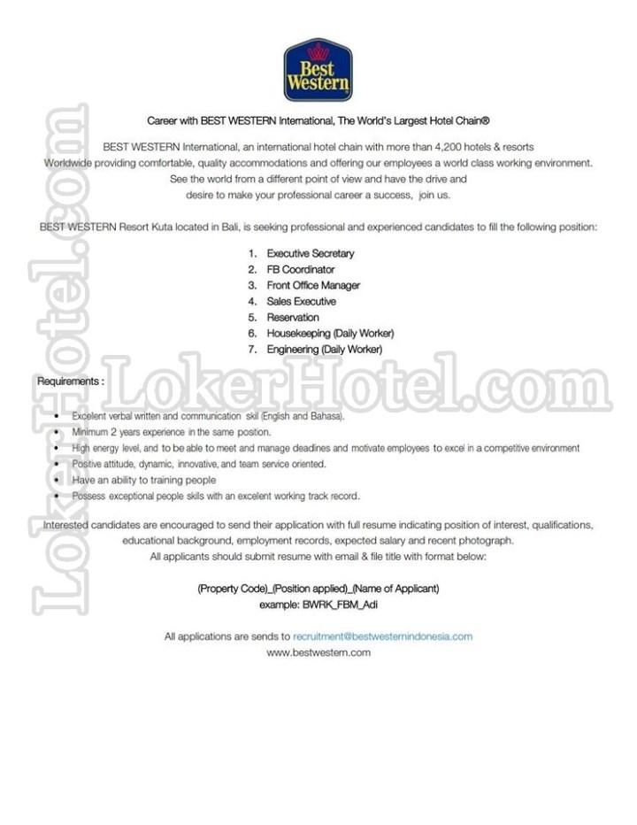 sharing anything  job vacancies best western resort kuta bali