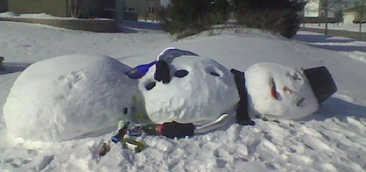 Snowman Passes Out After A Night of Drinking