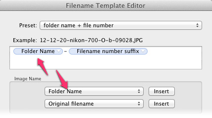 folder name and file name