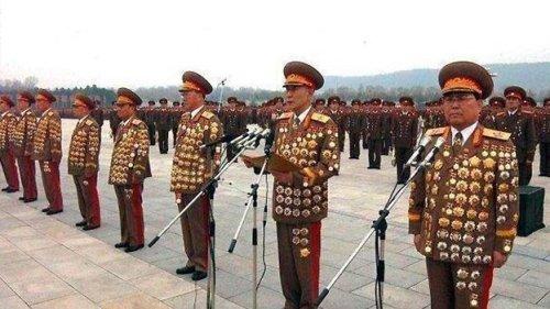 North Korean generals in full regalia