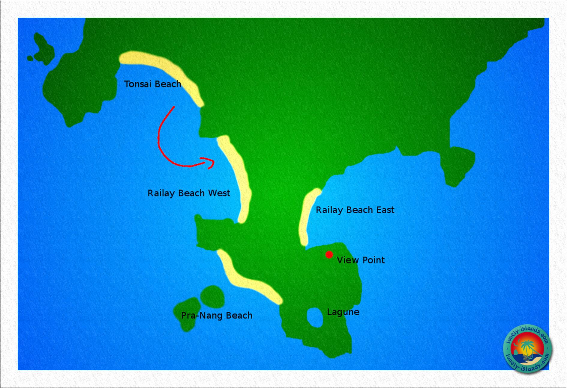 Karte von Railay Beach