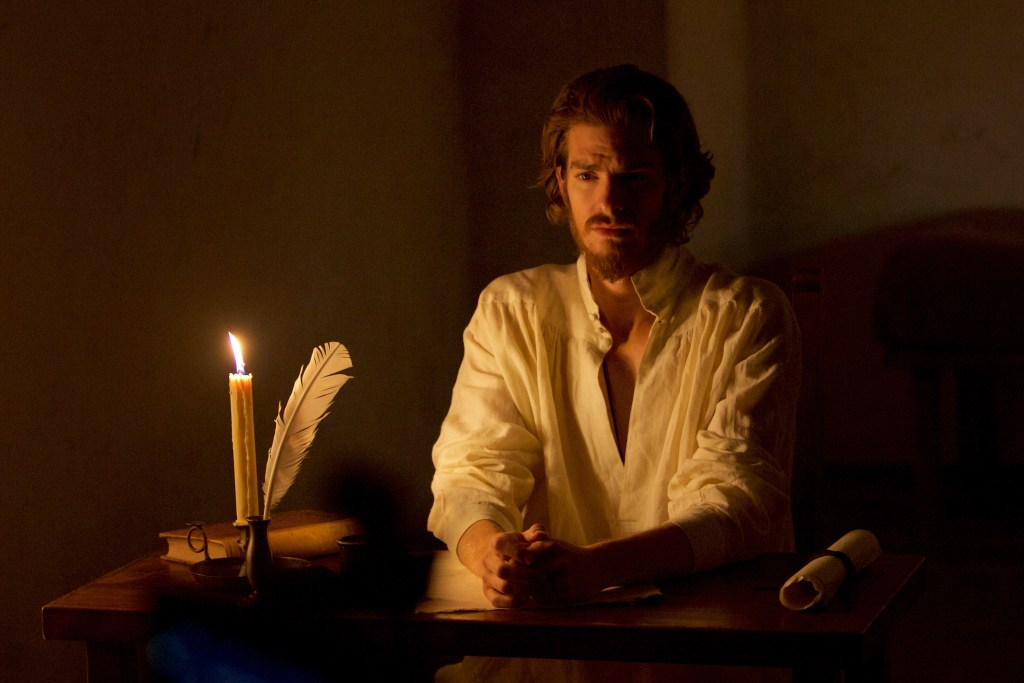 Andrew Garfield as Father Sebastião Rodrigues in SILENCE.