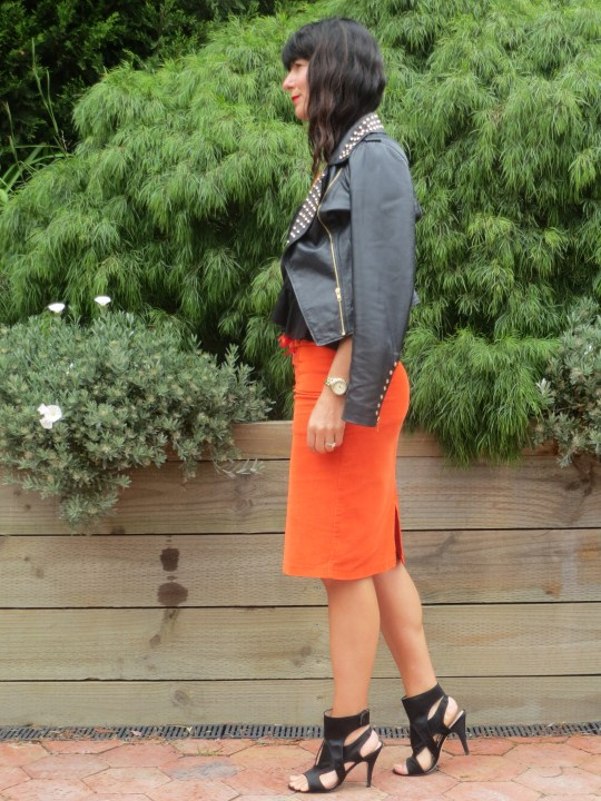 Orange skirt, black leather 2