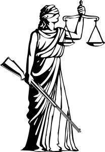Lady Justice  - with a gun.