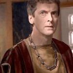 Peter Capaldi in earlier episode of Doctor Who, dressed in Roman gear.