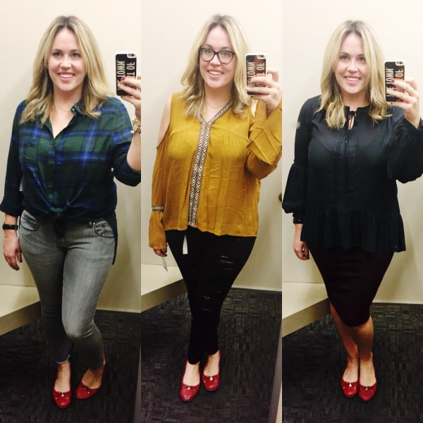 Dressing Room Dilemma xx Falling for Nordstrom Rack , nordstrom rack, fall fashion, rack fashion, fall style, flannel, plaid, cold shoulder top, mustard blouse, dressing room dilemma, dressing room diaries
