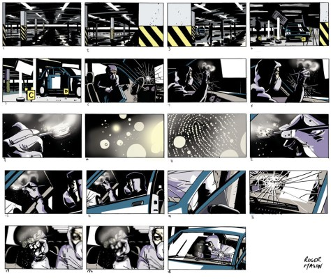 Storyboards detailing scene of crime forensic examination for screen idents, commissioned by Red Bee Media, art by Roger Mason