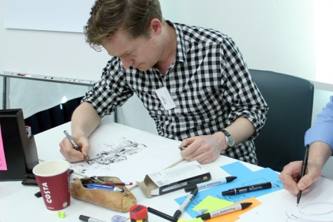 Roger Mason drawing in Dubai in 2014, for Engine Service Design and Dubai Airport