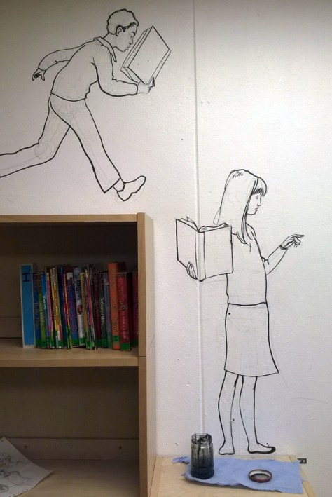 World Book Day comic strip mural, on the wall at Pilgrims' Way Primary School. Art by Roger Mason