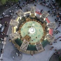 Abandoned Fountain Transformed Into a Mini Water Park