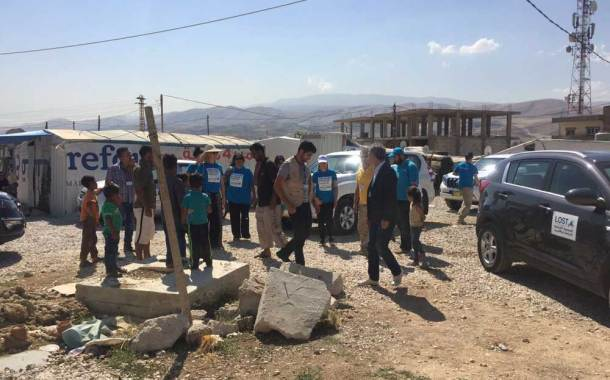 Syrian Refugees Welcome the UK NATCOM Representatives in their Settlement